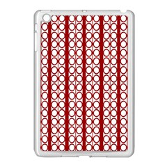 Circles Lines Red White Pattern Apple Ipad Mini Case (white)