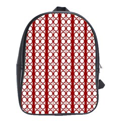 Circles Lines Red White Pattern School Bag (xl)