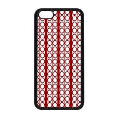 Circles Lines Red White Pattern Apple Iphone 5c Seamless Case (black)