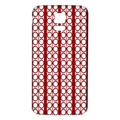 Circles Lines Red White Pattern Samsung Galaxy S5 Back Case (white)