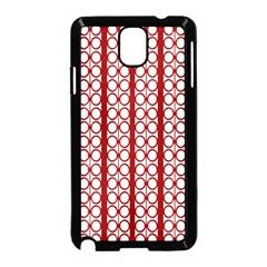 Circles Lines Red White Pattern Samsung Galaxy Note 3 Neo Hardshell Case (black) by BrightVibesDesign