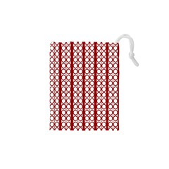 Circles Lines Red White Pattern Drawstring Pouch (xs)