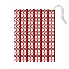 Circles Lines Red White Pattern Drawstring Pouch (xl) by BrightVibesDesign