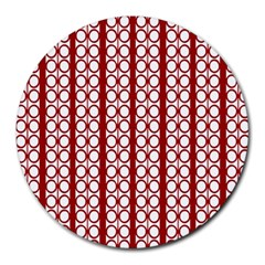 Circles Lines Red White Pattern Round Mousepads