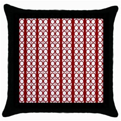 Circles Lines Red White Pattern Throw Pillow Case (black)