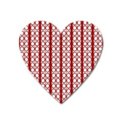 Circles Lines Red White Pattern Heart Magnet