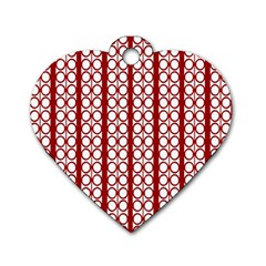 Circles Lines Red White Pattern Dog Tag Heart (one Side) by BrightVibesDesign