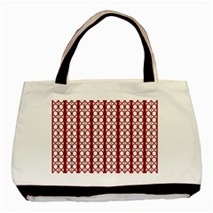 Circles Lines Red White Pattern Basic Tote Bag (two Sides)