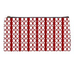 Circles Lines Red White Pattern Pencil Cases by BrightVibesDesign
