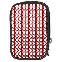 Circles Lines Red White Pattern Compact Camera Leather Case