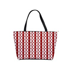 Circles Lines Red White Pattern Classic Shoulder Handbag by BrightVibesDesign