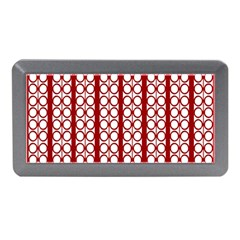 Circles Lines Red White Pattern Memory Card Reader (mini)