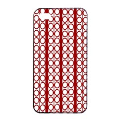 Circles Lines Red White Pattern Apple Iphone 4/4s Seamless Case (black)