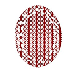 Circles Lines Red White Pattern Oval Filigree Ornament (two Sides)