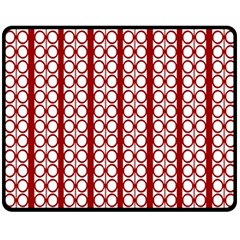 Circles Lines Red White Pattern Double Sided Fleece Blanket (medium)