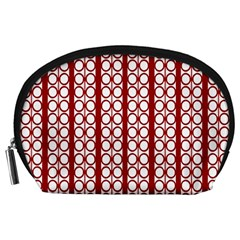 Circles Lines Red White Pattern Accessory Pouch (large)