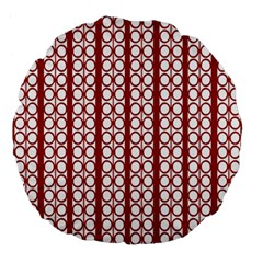 Circles Lines Red White Pattern Large 18  Premium Flano Round Cushions