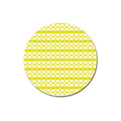 Circles Lines Yellow Modern Pattern Magnet 3  (round) by BrightVibesDesign