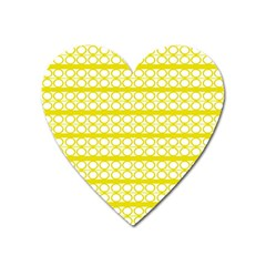 Circles Lines Yellow Modern Pattern Heart Magnet