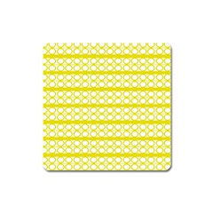 Circles Lines Yellow Modern Pattern Square Magnet