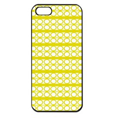 Circles Lines Yellow Modern Pattern Apple Iphone 5 Seamless Case (black)