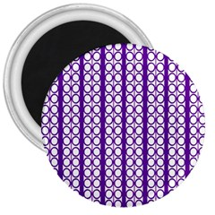 Circles Lines Purple White Modern Design 3  Magnets by BrightVibesDesign