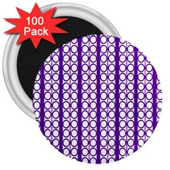 Circles Lines Purple White Modern Design 3  Magnets (100 Pack) by BrightVibesDesign