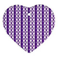 Circles Lines Purple White Modern Design Heart Ornament (two Sides) by BrightVibesDesign