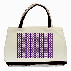 Circles Lines Purple White Modern Design Basic Tote Bag (two Sides)