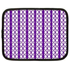 Circles Lines Purple White Modern Design Netbook Case (large)