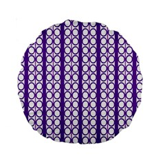 Circles Lines Purple White Modern Design Standard 15  Premium Round Cushions by BrightVibesDesign