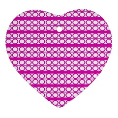 Circles Lines Bright Pink Modern Pattern Ornament (heart) by BrightVibesDesign