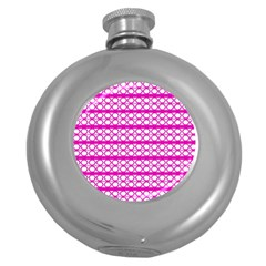 Circles Lines Bright Pink Modern Pattern Round Hip Flask (5 Oz)