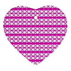 Circles Lines Bright Pink Modern Pattern Heart Ornament (two Sides) by BrightVibesDesign