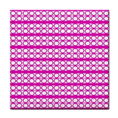 Circles Lines Bright Pink Modern Pattern Face Towel by BrightVibesDesign