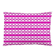Circles Lines Bright Pink Modern Pattern Pillow Case by BrightVibesDesign