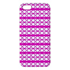 Circles Lines Bright Pink Modern Pattern Apple Iphone 5 Premium Hardshell Case