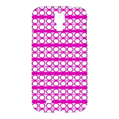 Circles Lines Bright Pink Modern Pattern Samsung Galaxy S4 I9500/i9505 Hardshell Case by BrightVibesDesign