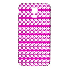 Circles Lines Bright Pink Modern Pattern Samsung Galaxy S5 Back Case (white)