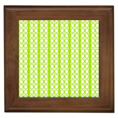 Circle Stripes Lime Green Modern Pattern Design Framed Tiles by BrightVibesDesign
