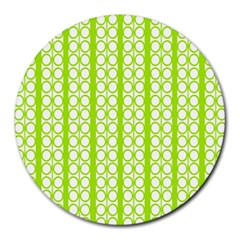 Circle Stripes Lime Green Modern Pattern Design Round Mousepads