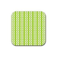 Circle Stripes Lime Green Modern Pattern Design Rubber Coaster (square)