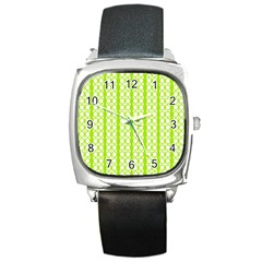 Circle Stripes Lime Green Modern Pattern Design Square Metal Watch by BrightVibesDesign