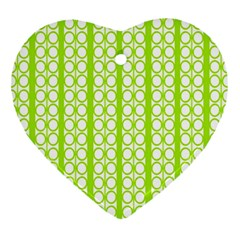 Circle Stripes Lime Green Modern Pattern Design Heart Ornament (two Sides) by BrightVibesDesign