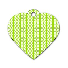 Circle Stripes Lime Green Modern Pattern Design Dog Tag Heart (two Sides)