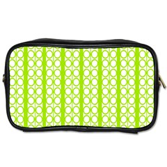 Circle Stripes Lime Green Modern Pattern Design Toiletries Bag (one Side) by BrightVibesDesign