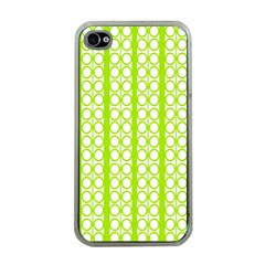 Circle Stripes Lime Green Modern Pattern Design Apple Iphone 4 Case (clear) by BrightVibesDesign