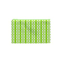 Circle Stripes Lime Green Modern Pattern Design Cosmetic Bag (xs) by BrightVibesDesign