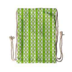 Circle Stripes Lime Green Modern Pattern Design Drawstring Bag (small) by BrightVibesDesign