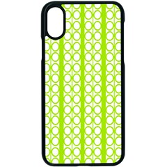 Circle Stripes Lime Green Modern Pattern Design Apple Iphone X Seamless Case (black) by BrightVibesDesign